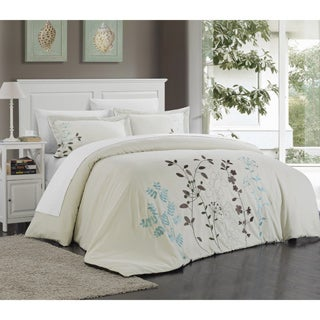 Kaylana Floral Embroidered Microfiber 3-piece Duvet Cover Set