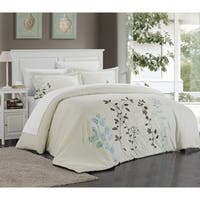 The Gray Barn Sleeping Hills Floral Embroidered Microfiber 3-piece Duvet Cover Set