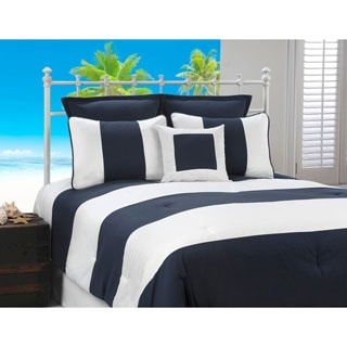 Cabana Stripe Navy and White Nautical 4-piece Comforter Set