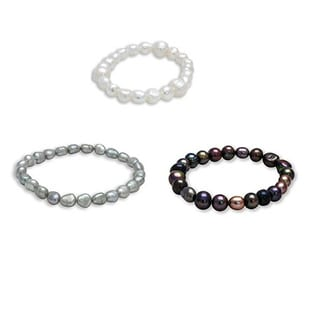 Multicolor Baroque Freshwater Pearl Stretch Stackable Bracelets (5 - 7 mm) (Set of 3)