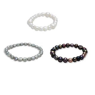 Set of Three Multicolor Baroque Freshwater Pearl Stretch Bracelets (5-7mm)
