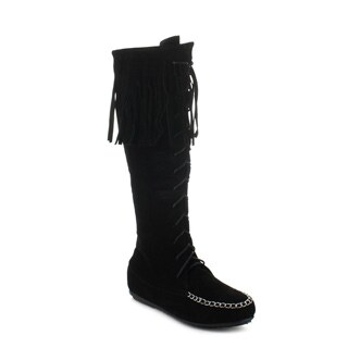 CAPE ROBBIN CARMELA-GX-3 Women's Moccasin Lace Up Fringe Knee High Boots