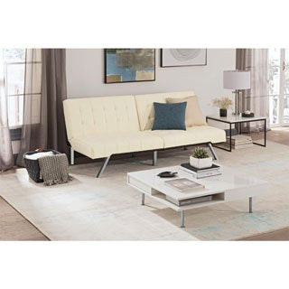 clay alder home isleton white convertible futon cream futons for less   overstock    rh   overstock