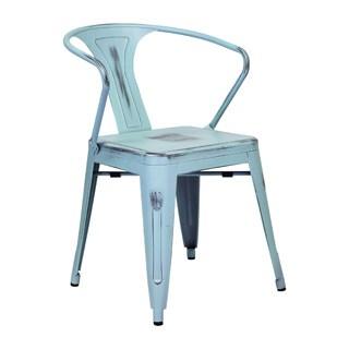 Industrial Vintage Blue Bistro Arm Chair
