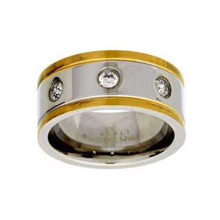 James Cavolini Stainless Steel IP Gold Two-Tone Cubic Zirconia Men's Band Ring