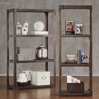 Galena Industrial Modern Rustic Iron Bookcase Media Tower