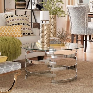 INSPIRE Q Nova Round Glass Top Vortex Iron Base Accent Table
