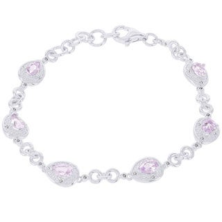 H Star 14k White Gold 1/6ct Diamond and Rose de France Bracelet (H-I, I1-12)