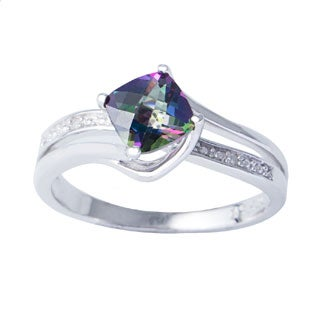 H Star Sterling Silver Cushion-cut Mystic Fire Topaz Diamond Accent Ring