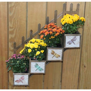 Tiered 4-Section Wooden Wall Planter