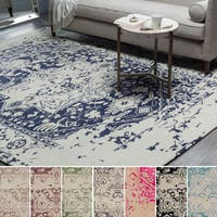 Hand-Tufted Prudhoe Border Indoor Viscose Area Rug (9' x 12')