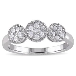 Miadora Sterling Silver 1/4ct TDW Diamond Halo Ring (H-I, I2-I3)