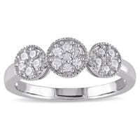 Miadora Sterling Silver 1/4ct TDW Diamond Halo Ring - White