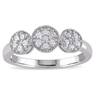 Miadora Sterling Silver 1/4ct TDW Diamond Halo Ring