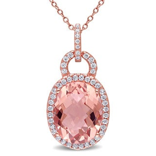 Miadora Rose Plated Silver Imitation Morganite and Cubic Zirconia Halo Necklace