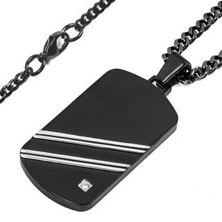 Crucible Men's Two-tone Stainless Steel Polished Cubic Zirconia Dog Tag Pendant
