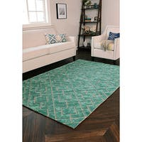 Kosas Home Handwoven Tempest Wool Turquoise Rug (8' x 10') - 8' x 10'