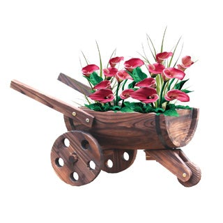Wooden Wheelbarrow Barrel Planter