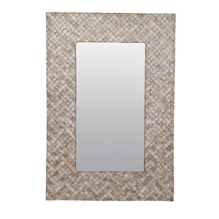 Winston White Herringbone Accent Mirror