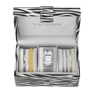 Vernier Women's Stainless Steel Watch and Zebra Print Jewelry Box Set