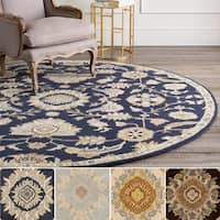 Hand-Tufted Wigton Floral Wool Area Rug (8' Round)