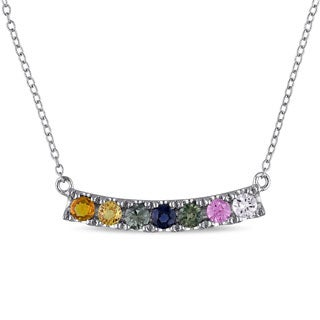 Miadora Sterling Silver Multi-color Gemstone Bar Necklace