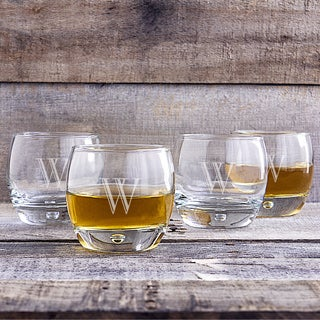 Set of 4 Personalized 10.75-ounce Heavy-base Whiskey Glasses