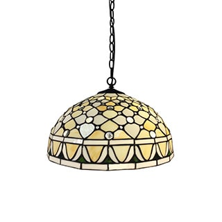 Cadence 2-light Off-white Tiffany-style 16-inch Hanging Lamp