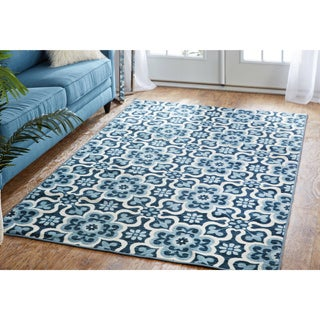 Mohawk Home Woodbridge Marjorelle Gardens Blue Area Rug (7'6 x 10')