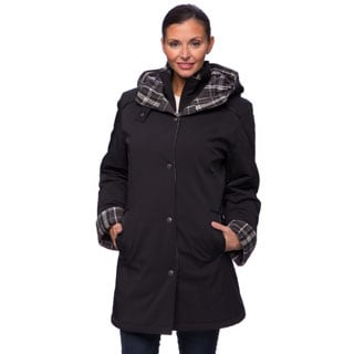 Women's Plaid-Trim Walker Coat