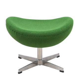 LeisureMod Modena Modern Green Wool Egg Chair Ottoman