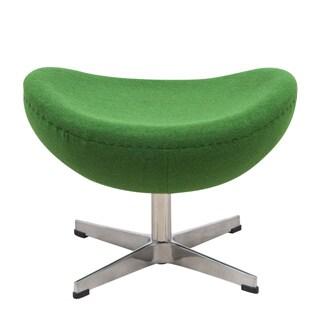 LeisureMod Modena Modern Green Wool Egg Chair Ottoman