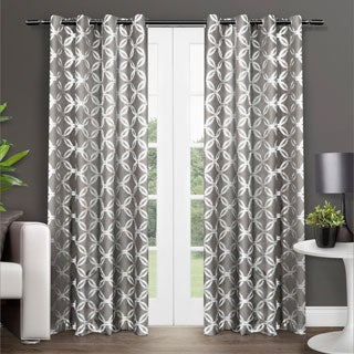 ATI Home Modo Metallic Print Grommet Top Curtain Panel Pair