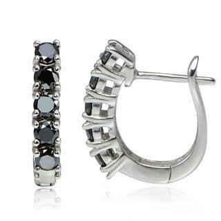 Sterling Silver 1.25ct TDW Black Diamond Hoop Earrings