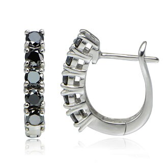 DB Designs Sterling Silver 1 1/4ct TDW Black Diamond Studded Hoop Earrings