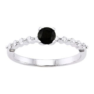 14k Gold 1/2ct. Black and White Diamond Engagement Ring