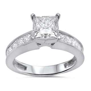 Noori 14k White Gold 1 3/5 ct TDW Princess Clarity Enhanced Diamond Ring