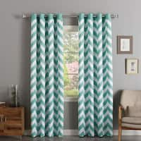 Aurora Home Chevron Print Room Darkening Grommet Top Curtain Panel Pair