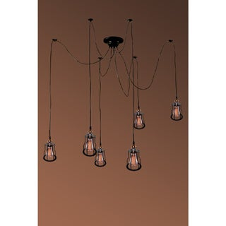 Salome 6-light Adjustable Height Black Edison Chandelier with Bulbs