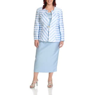 Giovanna Signature Women's Plus Size 3-piece Stripe Skirt Suit