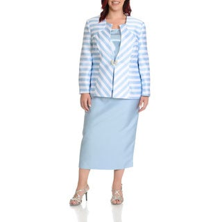 Giovanna Signature Women's Plus Size 3-piece Stripe Skirt Suit