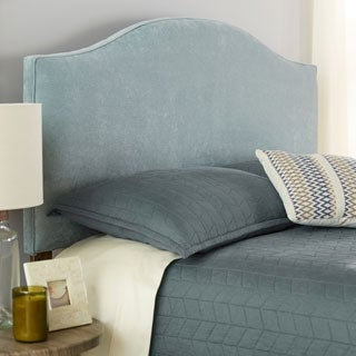 Humble + Haute Bingham Queen Size Blue Velvet Arched Upholstered Headboard