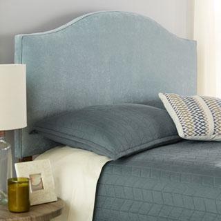 Humble + Haute Bingham Blue Velvet Arched Upholstered Headboard