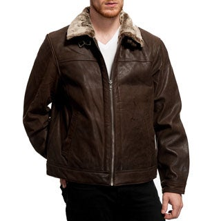 Wilda Men's Faux Shearling Leather Jacket (Extended Sizes)