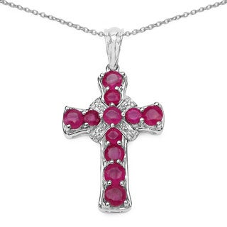 Malaika .925 Sterling Silver 2 4/5ct TGW Genuine Ruby Cross Shape Pendant