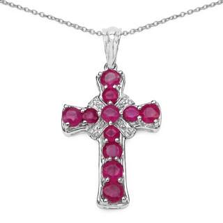 Malaika .925 Sterling Silver 2 4/5ct TGW Genuine Ruby Cross Shape Pendant