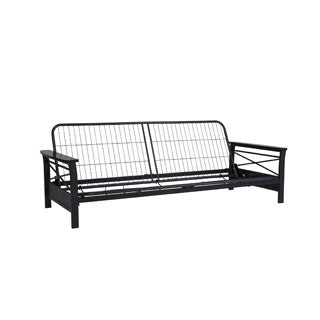 DHP Nadine Metal Futon Frame with Espresso Wood Armrests