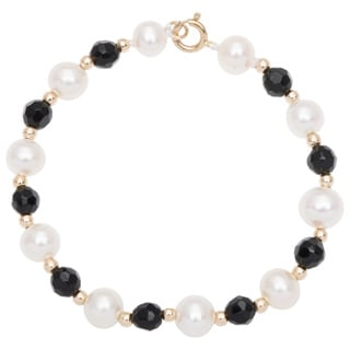 DaVonna 14k Yellow Gold White Pearl and Beads Children's Bracelet