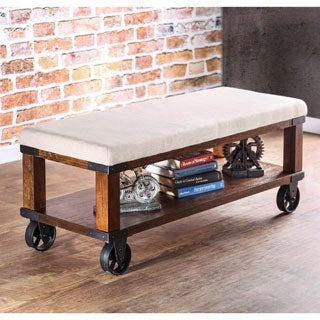 Furniture of America Roletta Modern Industrial Ivory Flax Bench