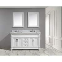 Design Element Hudson 72-inch Double Sink Vanity Set in White with White Carrara Marble Countertop